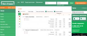 Линия ставок на сайте БК Лига Ставок